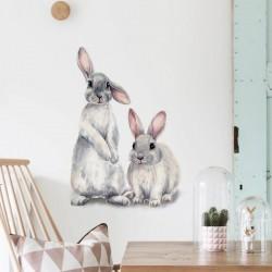 Stickers Deux lapins mignons