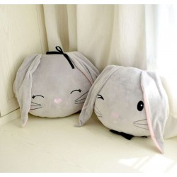 Coussin lapin gris
