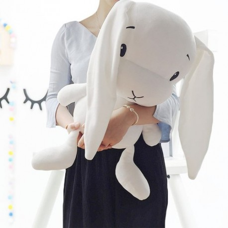 peluche lapin grandes oreilles blanc